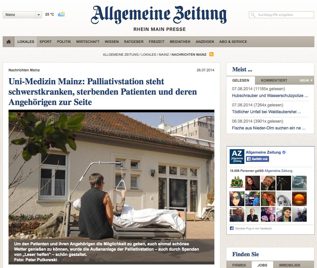 Bericht in der Allgemeinen Zeitung zur Mainzer Palliativstiftung